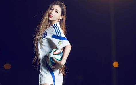 wallpaper girl football oriental asian girl girls woman women female model sports