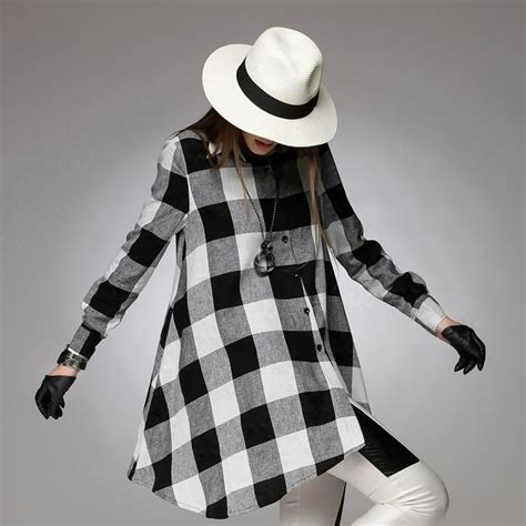 White Assymetric Plaid Shirt 2015 original design black and white plaid shirt plus size asymmetrical design