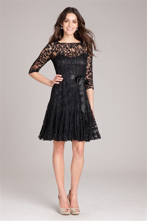 Lace Sleeve Cocktail Dress black lace cocktail dress with sleeves teri jon