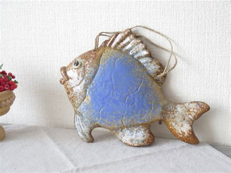 vintage ceramic blue fish wall decor ceramic wall hanging