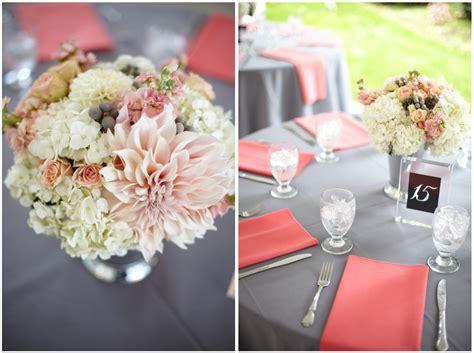 coral and grey wedding centerpieces coral gray wedding at laurel creek manor jen s