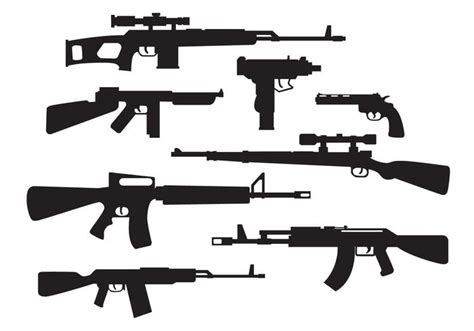 Weapon Graphics 5 weapons silhouette vector free vector