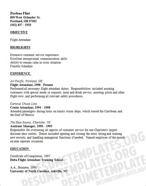 flight attendant resume template professionally written