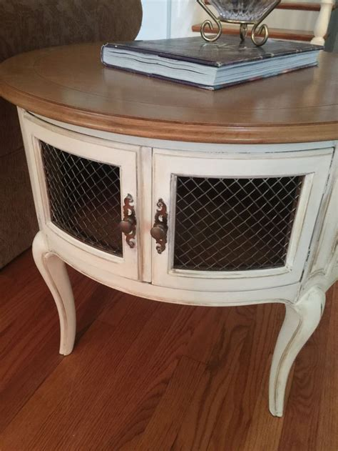 french provincial end table round end table painted