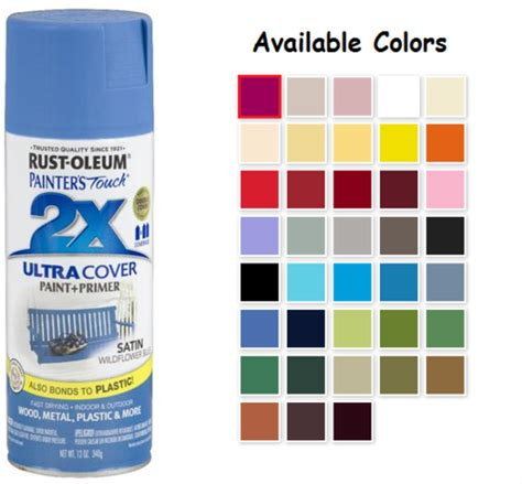 rust oleum satin spray paint color chart enamel spray