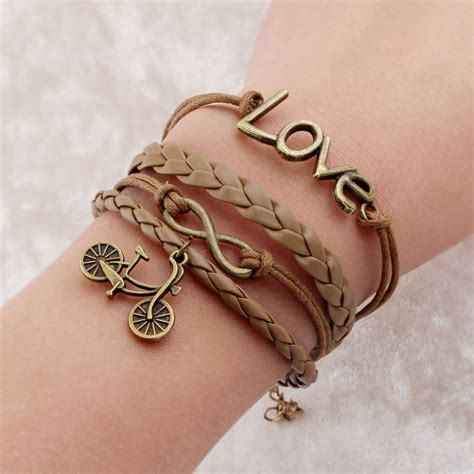 Gelang Vintage Best Friend Charm Leather Bracelet Bangle Wom T0210 vintage braided bicycle charms bracelets anchor rudder best friends leather bracelets charm