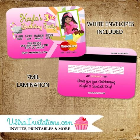 candyland credit card invites birthday invitations