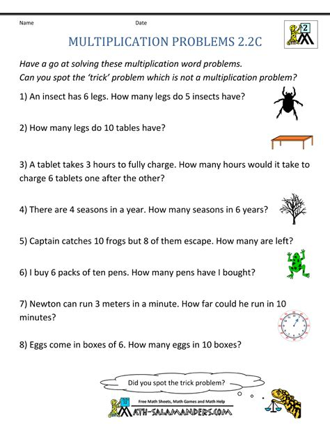 2nd Grade Common Math Word Problems Worksheets by Multiplication Word Problem Area 2nd Grade