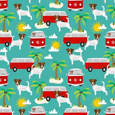 Doggie From Tree Hippyshopper terrier fabric hippie palm trees