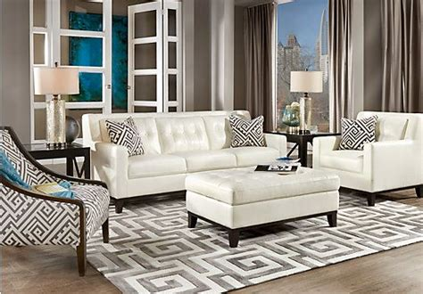 White Leather Living Room Chair - reina white 4 pc leather living room stylish white