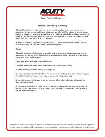 Lockout Tagout For Machines Equipment Special Circumstances Cal Osha Lock Out Tag Out Procedure Template