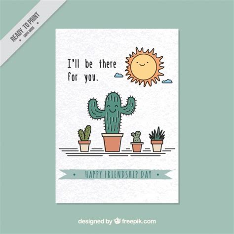 friendship cards friendship card with cacti vector free