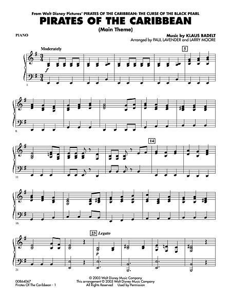 theme songs of piano sheet music for pirates of the caribbean theme song