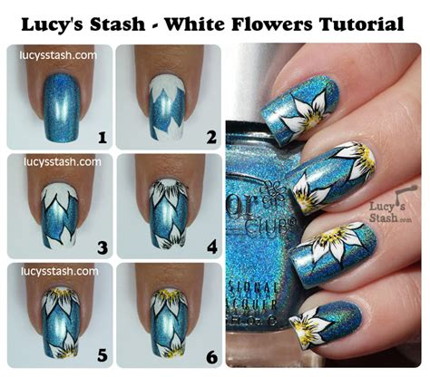 nail art white tutorial how to make diy white flower nail art manicure step by