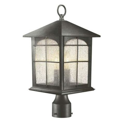 hton bay 3 light aged iron outdoor post lantern y37031