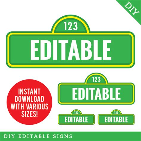 Sesame Street Party Editable Street Signs Instant Download Editable Road Sign Template