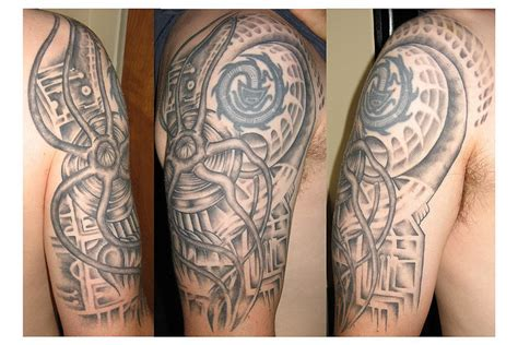 biomechanical half sleeve tattoo designs biomechanics quotes quotesgram