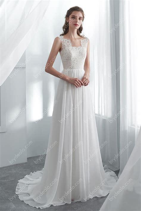 simple scallop lace chiffon open  boho   wedding