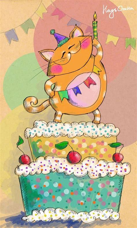 felicitaciones de cumpleanos con torta de colores gato con torta de cumplea 241 os birthday pinterest
