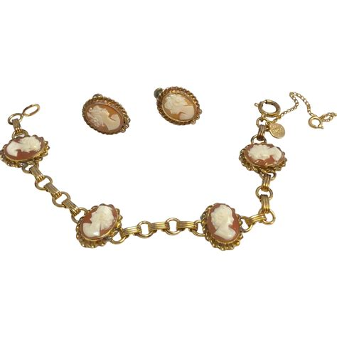 vintage gold filled cameo bracelet earrings from
