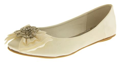 Flat Wedding Pumps by Ivory Satin Wedding Pumps Flat Bridesmaids Shoes
