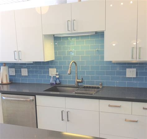 Blue Tile Backsplash Kitchen | sky blue modern kitchen backsplash subway tile outlet
