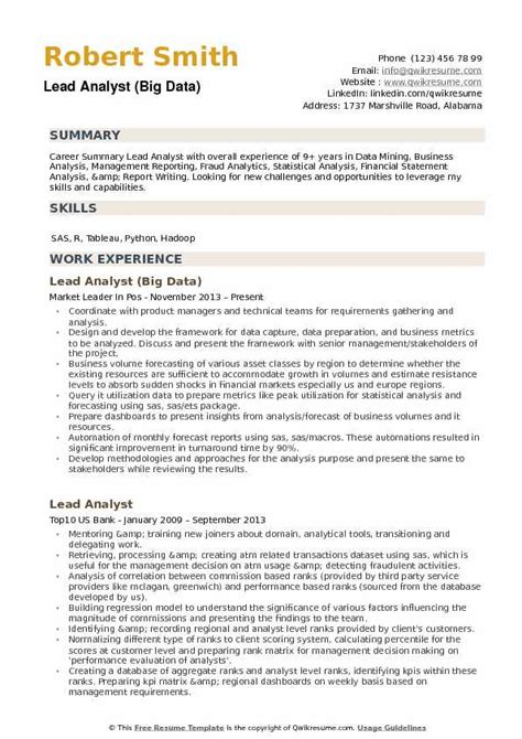 Lead Analyst Sle Resume by Lead Analyst Resume Sles Qwikresume