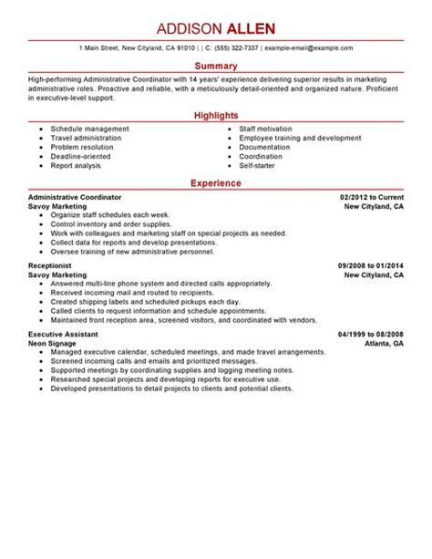 Social Services Resume Examples best administrative coordinator resume example livecareer
