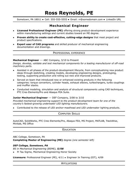 engineer resume format sle resume for a midlevel mechanical engineer