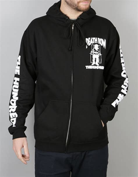 Row Records Clothing The Hundreds X Row Records Zip Up Hoodie Black Skate Zip Hoodies Mens