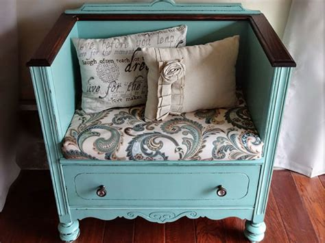 how to make a bench from a dresser cushioned bench 15 fun ways to upcycle an old dresser