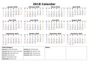 Calendar 2018 With Holidays List Calendar 2018 With Holidays 2017 Calendar