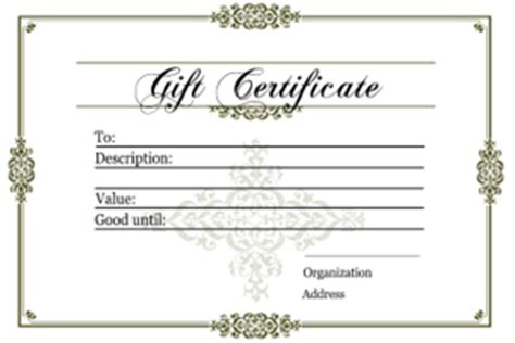 Generic Gift Card Template by Generic Gift Certificate Template Quotes
