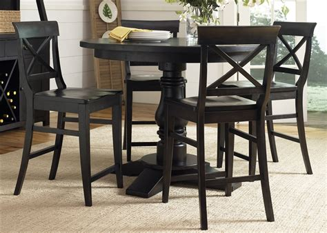 Counter Height Round Table Sets - sundance lake round pedestal counter height table 5 piece dining set in dark molasses finish by