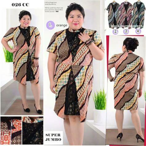 jual dress batik kombinasi brokat jumbo baju atasan