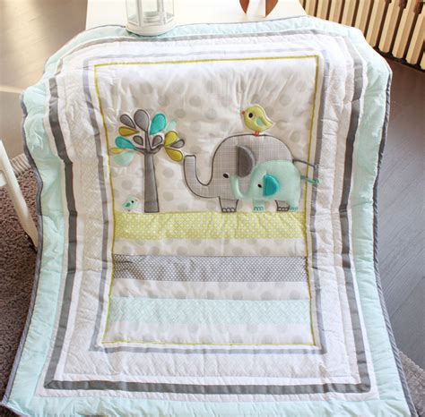 Elephant Crib Bedding Boy Elephants 4pc Baby Nursery Crib Bedding Set Boy Cot Set Applique Quilt Bumpers Fitted Sheet Dust