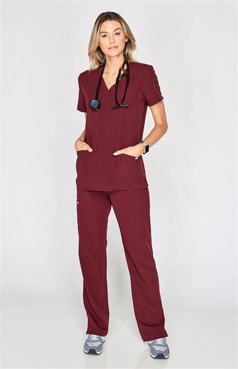 womens kade cargo scrub pants  color burgundy