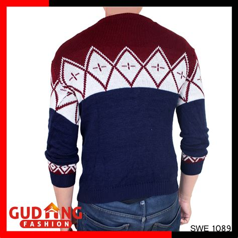 Sweater Merah Kombinasi sweater pria rajut navy model terbaru rajut pe biru navy