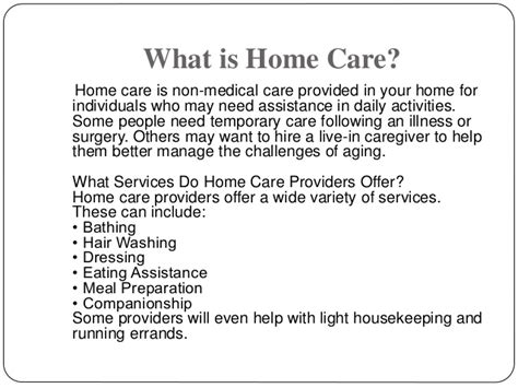 the basics of home care