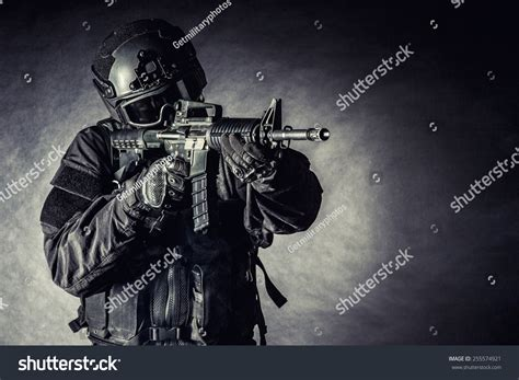 Swat S W A T Black spec ops officer swat black stock photo 255574921