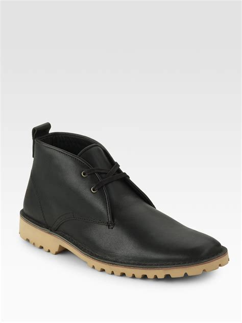 mens black leather chukka boots lacoste leather chukka boots in black for lyst