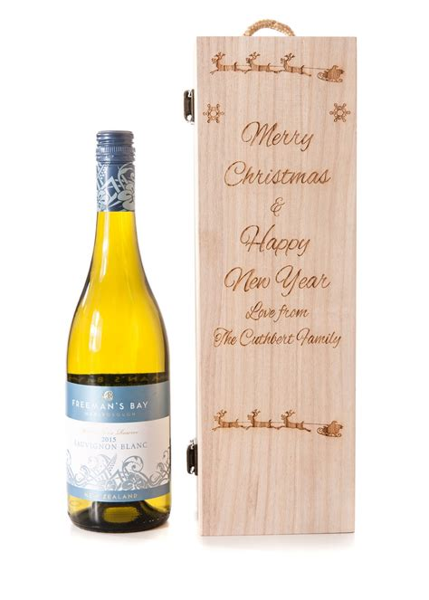 new year wine gift personalised wooden wine gift box new year