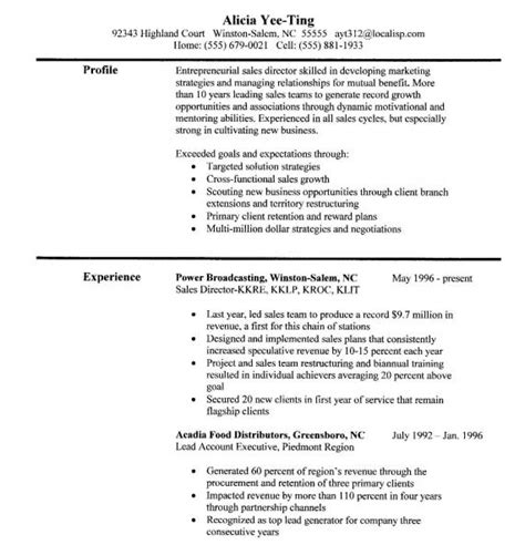 Resume Sles For One Sales Skills Resume
