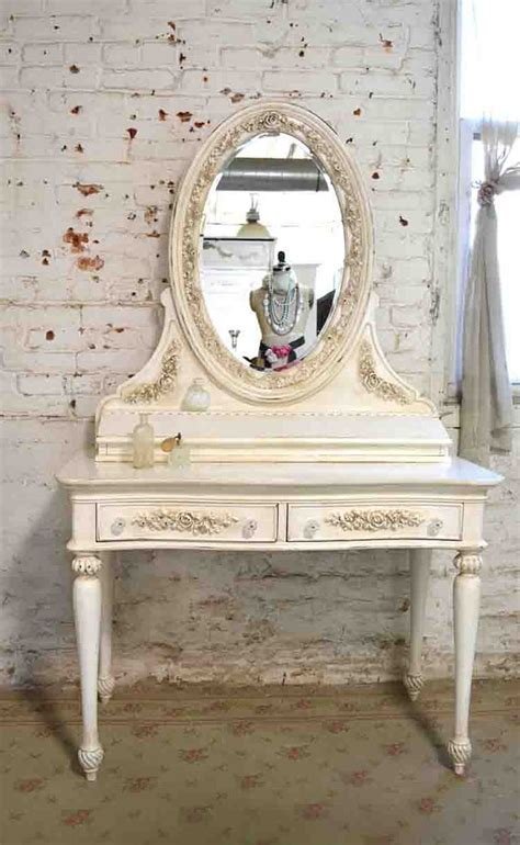 painted cottage chic shabby vanity and mirror