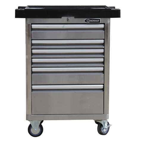 stainless steel tool cabinet shop kobalt 40 in x 27 in 6 drawer bearing stainless