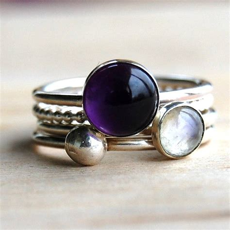 Handmade Stacking Rings - handmade amethyst and moonstone stacking rings by alison
