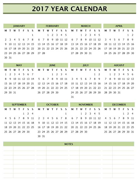 2017 year calendar template free microsoft word templates