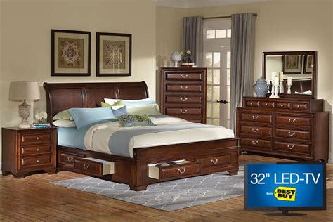 bedroom set with tv caldwell king bedroom set with 32 quot led tv