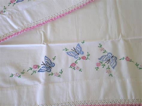 Embroidered Pillow Cases by Vintage Embroidered Butterfly Cotton Pillow Cases In