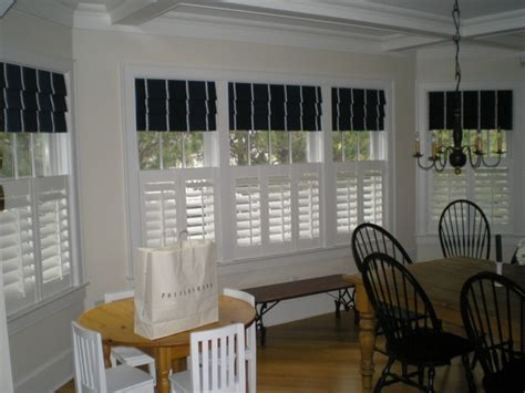curtains blinds and shutters cafe shutters with roman shades new house ideas